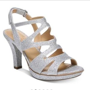 """Silver glitter 3 1/2"""" heels prom shoes"""